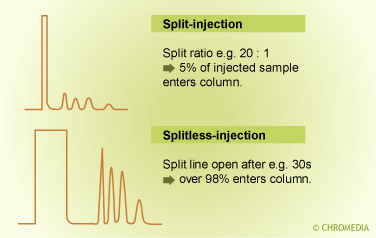 Comparison split vs splitless injection